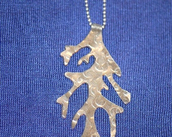 Hand Cut Sterling Coral Seaweed Necklace