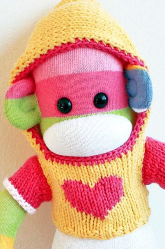 Samie Mars Sock Monkey with Knit Heart Hoodie