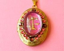 Libra Intaglio Glass Cameo and Rhinestone Zodiac Locket Necklace, Vintage Zodiac Locket,Astrology Jewelry, Celestial Locket