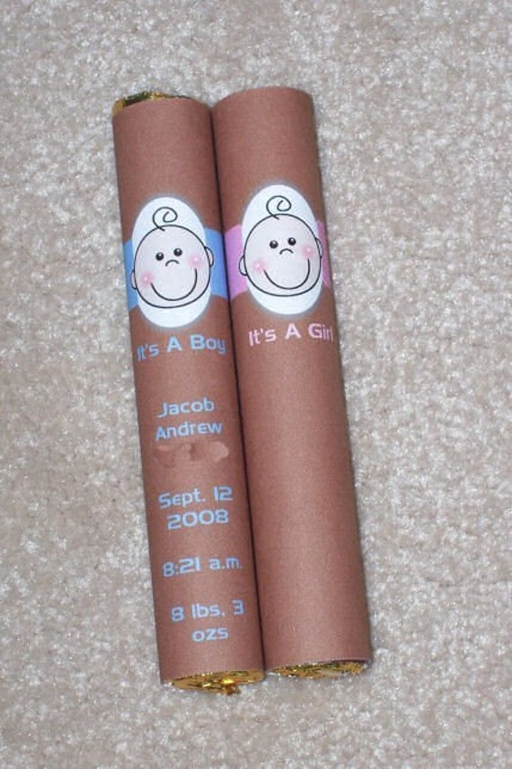 Reserved Baby Shower Birth Announncement Candy Rolos Cigars