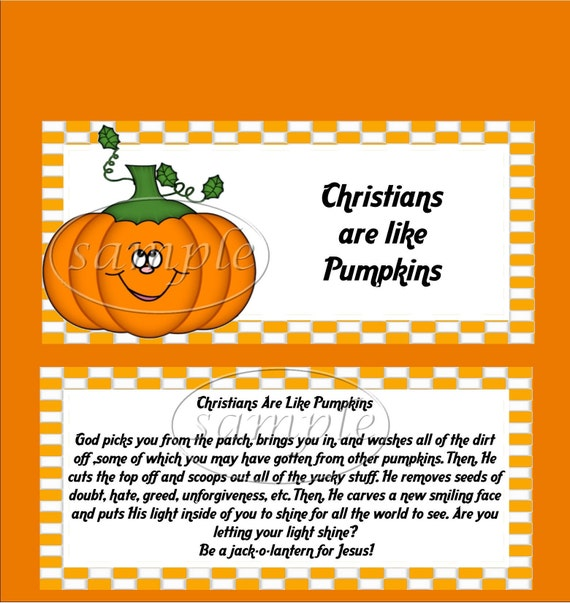 Items Similar To Christian Pumpkin Candy Bar Wrappers On Etsy