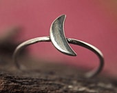 Moon Ring in Sterling Silver - Tiny Moon Ring - Half Moon Ring - Made to Order