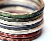 Stackable Set of Seven Mixed Metal Rings - Verdigris Copper, Red Copper, Oxidized and Shiny Sterling Silver