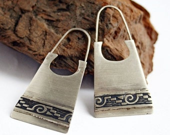 Hippie Earrings in Sterling Silver with Textured Band - Boho Earrings