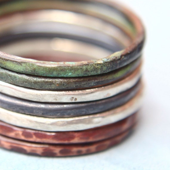 DECEMBER SALE 15% Off Mix of Colors - Set of Seven Stacking Rings