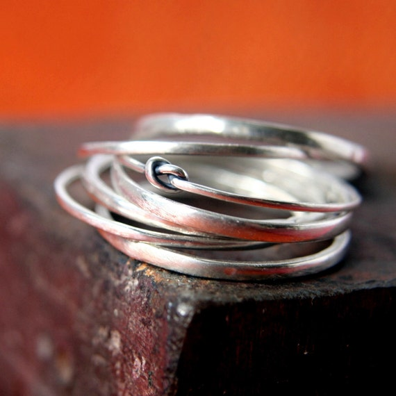 Rings in Sterling Silver - Knot Ring - Set of Seven Made to Order in Your Size