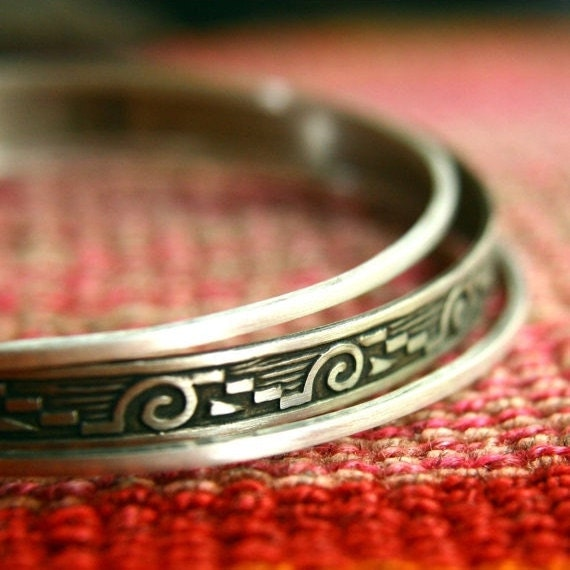 Mixed Metal Bangles Bracelets - Tribal Bangles - Ethnic Bracelets - Sterling Silver and German Silver