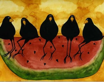 Crows Ravens Blackbirds Watermelon Picnic Animals Folk Art Debi Hubbs