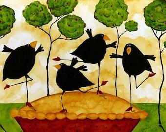 Crow Blackbird Raven Pie Dancing Debi Hubbs Folk Art Whimsical Kitchen