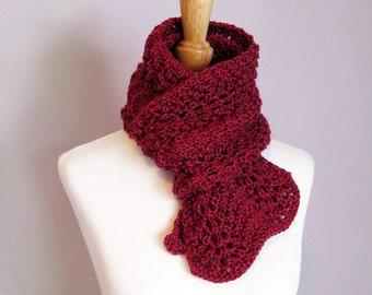 Hand Knit Scarf - Raspberry Jam