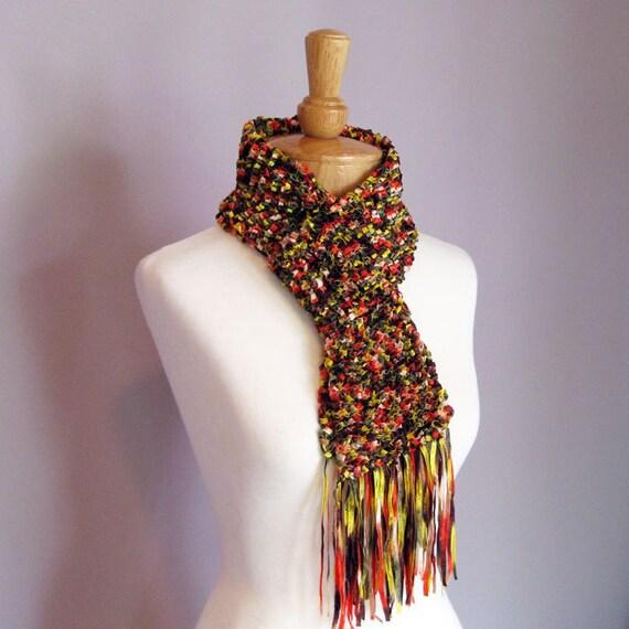 Kimono Scarf Knitting Pattern : Items similar to SALE - Hand Knit Scarf - Kimono Ribbon on Etsy