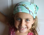 NEWEST VERSION no tie headband  bandana Joel Dewberry Aviary 2 Plum Blue Sparrows