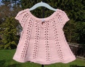 pink lace handknit tunic blouse. toddler size 2.
