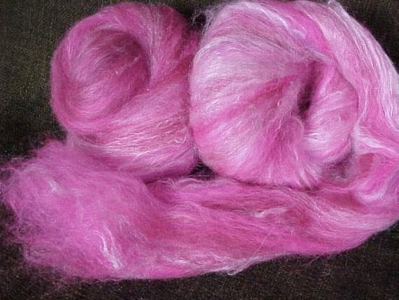 Spinning Batt - Llama Merino Mohair Silkl  (Roses out of Ashes) 3.5 oz