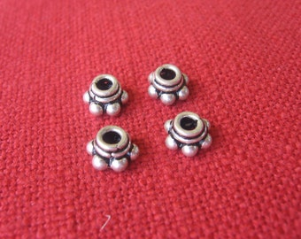 Sterling silver dotted bead cap