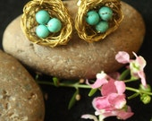 Birdnest Ear Studs - Turquoise