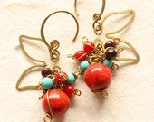 Angel's Wing - Red coral, garnet, turquoise(ce0208)