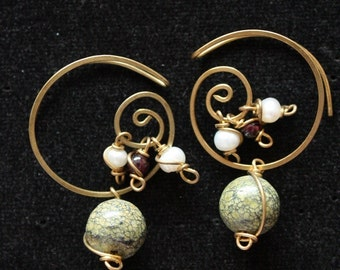 Indian Spiral Earrings - Green Jasper