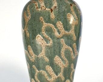 Evergreen and Tan Glazed Vase
