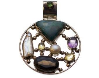 Multi Stone Circular Pendant