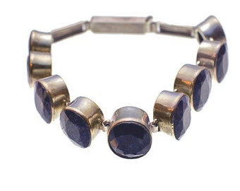 Sapphire Clasp Sterling Silver Bracelet