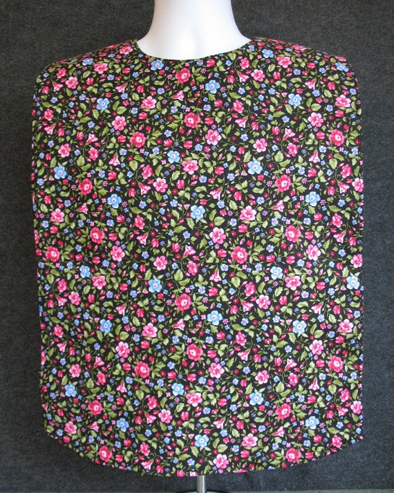 Adult Bib Clothing Protector Dark Blue with pink, light blue flowers