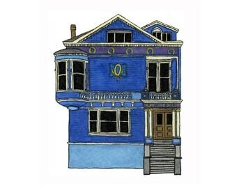 Blue House On Scott St., San Francisco - Postcard