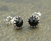 Black Onyx  Earrings - Onyx Stud Earrings in Sterling Silver