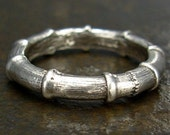 Bamboo Ring - Sterling Silver Casual or Wedding Band, Size 6, Size 6.5, or Size 7.5 - Botanical Wedding Ring - Twig Jewelry