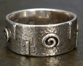 Medieval Style or Celtic Ring - Rustic Hammered Spiral Ring - Wide Band in Sterling Silver - Size 7, Size 7.5, or Size 8