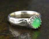 Chrysoprase Ring - Apple Green Stone in Sterling Silver