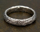 Mens Ring or Silver Wedding Band - Tree Bark Texture - Size 9, 9.5, Size 10, 10.5, Size 11, 11.5 Casual, Wedding, Engagement or Commitment