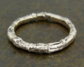 Wild Rose Twig Ring - Sterling Silver Twig Band - Sizes Small to Large - Botanical Twig Jewelry