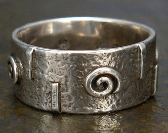 Medieval Style or Celtic Ring - Rustic Hammered Spiral Ring - Wide Band in Sterling Silver - Size 7 or Size 7.5