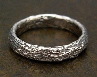 Mens Wedding Band - Large Size Tree Bark Mens Ring in Sterling Silver - Size 12, Size 12.5, Size 13, Size 13.5, Size 14, Size 14.5, Size 15