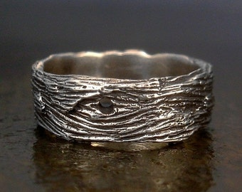 Women's - Unisex - Men's Ring, Driftwood Design Wide Band Sterling Silver Ring, Sizes 6, 6.5, 7, 7.5, 8, 8.5, 9, 9.5, 10, 11 Silver Band