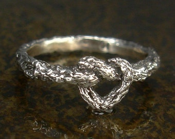 Tied Vine Infinity Heart Ring or Mother - Daughter Ring in Sterling Silver, X-Small to X-Large Sizes, Heart Twig Ring