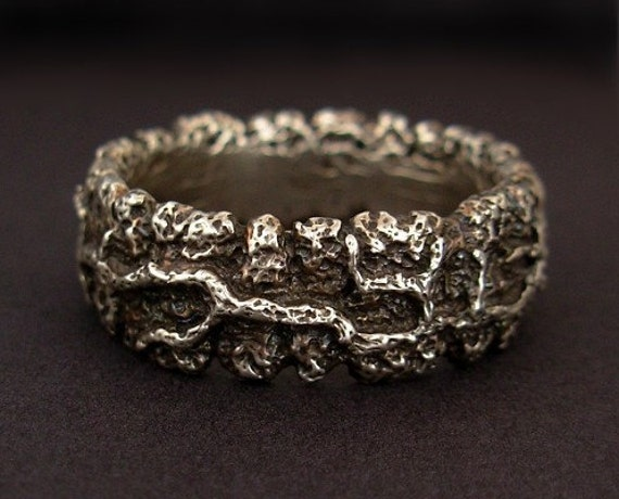 Mens Ring - Sterling Silver Rustic Wide Thick Band - Creeping Vine - Size 9.5, Size 12, and Size 12.5