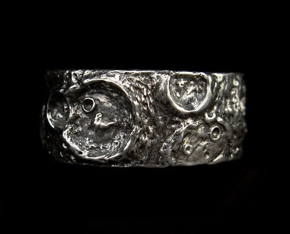 Wide Band Ring - Sterling Silver Moon Ring - Size 7.5 or size 8