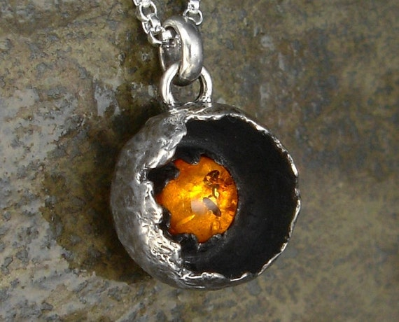 Small Pod Pendant with Amber Yolk - Sterling Silver