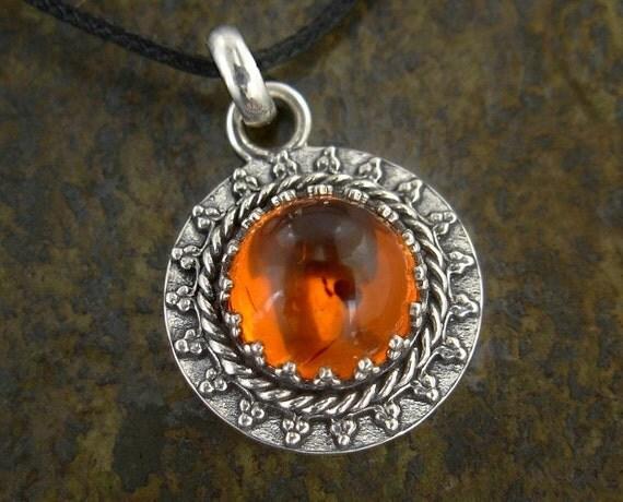 Small Amber Pendant - Sterling Silver Filigree Setting