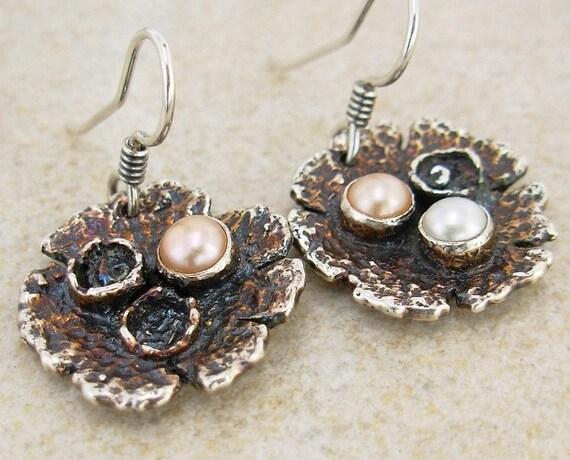 Dinosaur Eggs Pearl Earrings - Sterling Silver Rustic Egg Nest Earrings