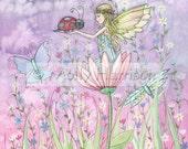 A Friendly Encounter Flower Fairy and Ladybug Print by Molly Harrison 9 x 12