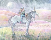 Unicorn and Fairy Fantasy Fine Art Print by Molly Harrison 'Hills of Enchantment' 9 x 12 Giclee