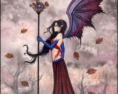 Gothic Vampire Fairy Fine Art Print 'A Wicked Wind' Watercolor Giclee BIG 12 x 16 inches by Molly Harrison