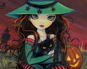 Halloween  Witch and Cat Fine Art Giclee Print by Molly Harrison 8 x 10
