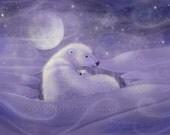 Gentle Winter - Polar Bear and Cub Fine Art Giclee Print by Molly Harrison 5 x 7