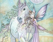 Nomads - Unicorn and Fairy Fine Art Giclee Print 9 x 12