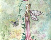 A Flower Fairy's Rest - Fine Art Giclee Print 9 x 12 - Watercolor Fairy Illustration - Flower Fairies Faery by Molly Harrison Fantasy Art