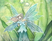 Fairy Print - Lily of the Valley Flower Fairy Large 11 x 17 Fairy Art by Molly Harrison